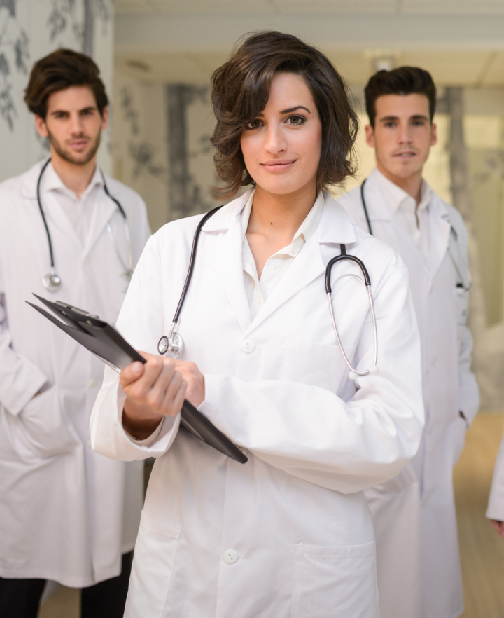 Portrait of group of medical workers in hospital